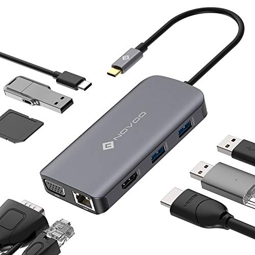 NOVOO 9-in-1 USB C Hub Adapter, Dual Display (HDMI 4K & VGA), USB C Dock Station with 1 Gbps Ethernet, 3 x USB 3.0, SD/Micro SD Card Reader, Type C 100W PD Power Port for MacBook Pro XPS