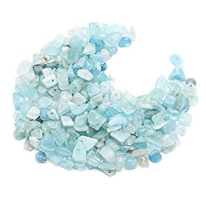 Aquamarine Crystal Chips, Gacuyi Natural Gemstones Beads Chakra Chip Stones Crushed Pieces Irregular Shaped Healing Drilled Loose Beads for Earring Bracelet Jewelry Making Home Decoration(1 Strand)