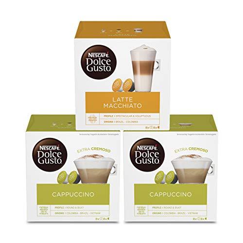 NESCAFÉ Dolce Gusto Kapseln Probierset (Latte Macchiato, Cappuccino), 24 Getränke aus 48 Kapseln (3 x 16)