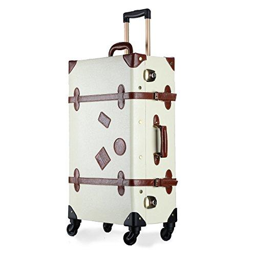 UNITRAVEL Maleta Vintage Viaje 58 Centímetros 36 litros con 4 Ruedas Marfil con Candado TSA