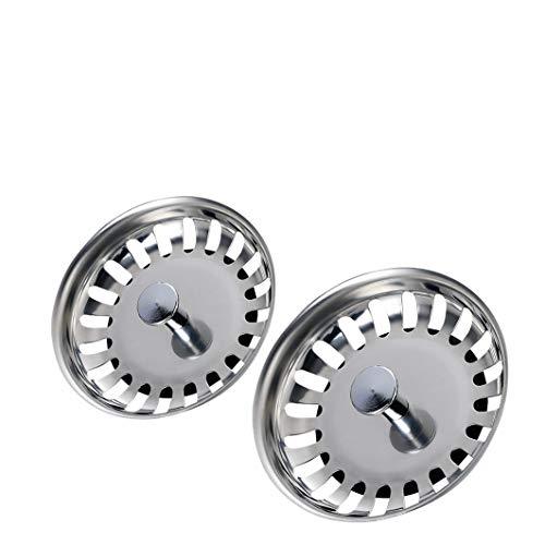 WINDALY Filtro per Lavello da Cucina, 3,15 inch Ø80 mm Acciaio Inox Filtro Lavello Scarico Cucina (2 PCS)