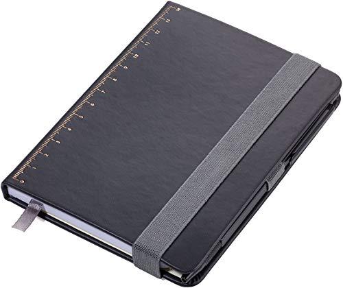 Troika Notizblock DIN A6 inkl. Kugelschreiber mit Elastikband-Verschluss,Stiftschlaufe & Lesezeichen aus Kunstleder, matt goldfarben/schwarz