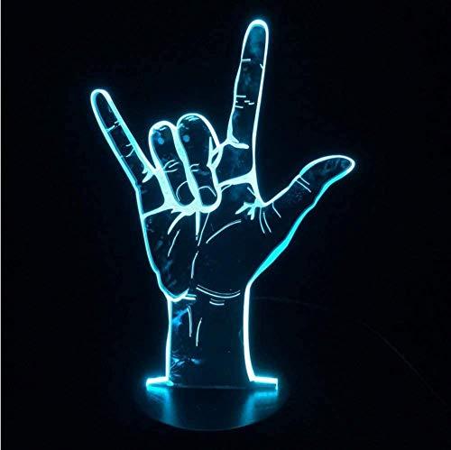 Linguaggio dei segni Ti amo o vittoria Sì Lampada da tavolo 3D a LED Luce notturna USB azionato da una festa romantica Festa di San Valentino Regalo