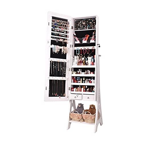 DYBITTS - Armario de pared con espejo y varios compartimentos, con cerradura y organizador de joyas (4 capas, de pie en el suelo)