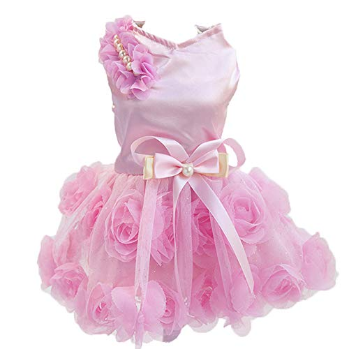 NACOCO Dog Wedding Dress Cat Colorful Skirt Dogs Birthday Party Pet Princess Dresses for Small Dogs Cat and Tutu in Spring and Summer(Pink,XXL)