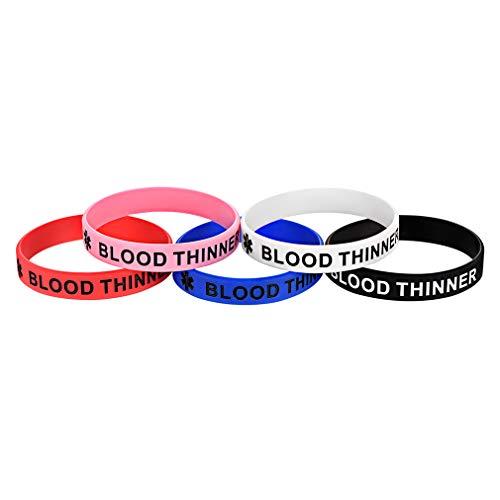 Custom4U Blood Thinner Bracelet,Blood Thinner Jewellery,Silicone Rubber Medical Alert Bracelet for Teen Boys Girls Adult Children,5pcs Blood Thinner Wristbands
