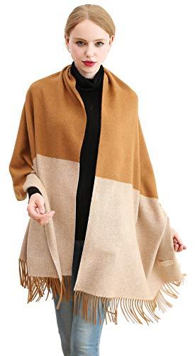 Longwu Bufanda de lana de cachemira 100% pura Pashmina Chal Wrap para mujer Bufandas gruesas largas y cálidas grandes Beige&Caramelo