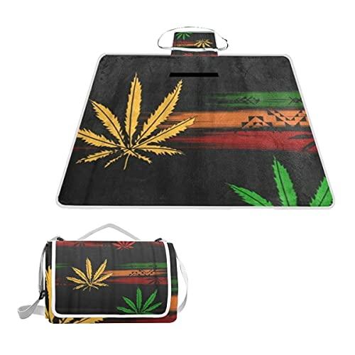 WINCAN Manta de Picnic Impermeable y Plegable,Resumen de Green Ganja Rasta de Marihuana Cannabis en Dibujos Animados de Colores Rastafari PORTÁTIL Estera de Playa Alfombras Anti-Arena,145*150cm