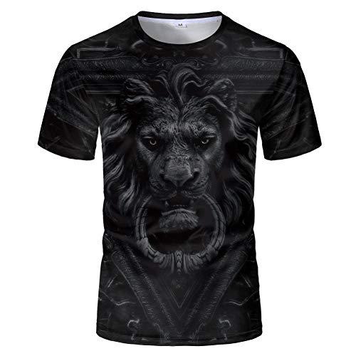 HYTR 3D Camisetas Moda Mítica León 3D Camiseta Impresa Cool Animal Pattern Verano Manga Corta Tops Hombres Camiseta Niño Niña Camisetas Casual XXL