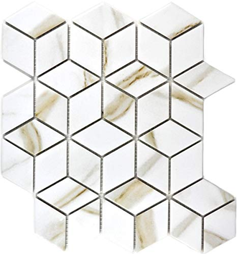 Mosaik Fliese Keramik weiß Diamant POV Calacatta Wandfliesen Badfliese MOS13-0112