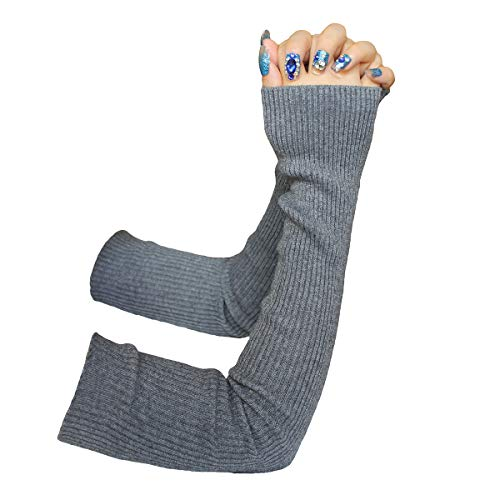 Share Maison Fingerless Arm Warmers for Women Winter Stretchy Gloves Cashmere Wool Gloves 50cm Extra Long Gloves (17-light grey)