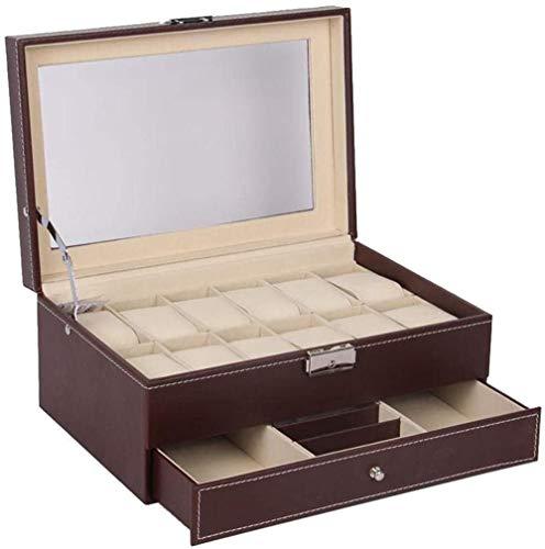 T.T-Q Caja de Reloj de joyería Caja de joyería Cajas para Relojes Caja de Almacenamiento Caja de presentación de Reloj Caja de joyería de Regalo de cumpleaños 30.5 * 20 * 14cm