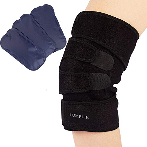 Knee Ice Pack for Injuries, TUMPLIK Knee Acl Brace Wrap Support with 3 Ice Gel Pack for Hot & Cold Therapy Compression Brace, Pain, Joint Pain, Athletic Injury, Meniscus (Flexible and Adjustable)