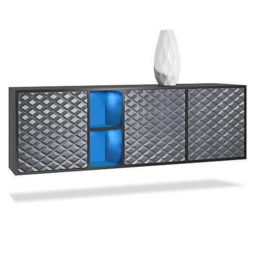Vladon Sideboard Kommode Cuba, Korpus in Schwarz matt/Fronten in 3D Stahlgrau, inkl. LED Beleuchtung