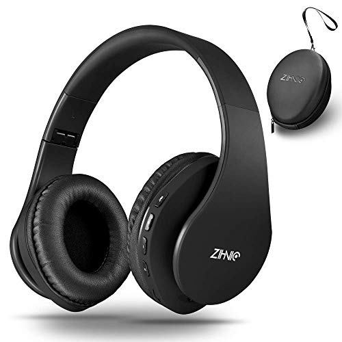 Wireless Bluetooth Headphones Over-Ear with Deep Bass, Foldable Wireless and Wired Stereo Headset Buit in Mic for Cell Phone, PC,TV, PC,Light Weight for Prolonged Wearing (Black) (Renewed)