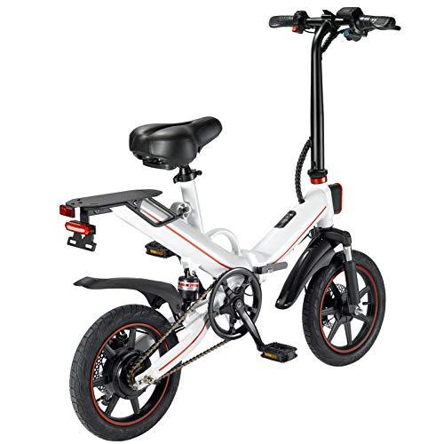 V5 Bicicletas eléctricas para Adultos, Plegable e Bicicletas para Mujeres Hombres con batería 10 / 15Ah 14 Pulgadas Velocidad máxima 25 km/h Portátil para Deportes (15AH-Blanco)