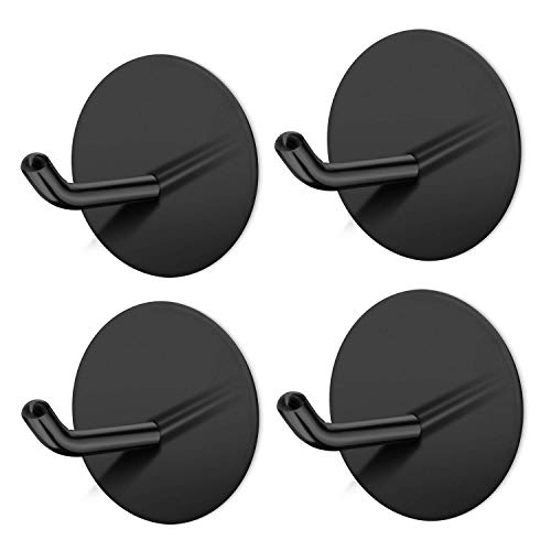 SouLips Adhesive Hooks, Self Adhesive Black Wall Mount Hanger for Key Robe Coat Towel, Super Strong Heavy Duty Stainless Steel Hooks, No Drill No Screw, Waterproof, for Kitchen Bathroom Toilet, 4 Pack