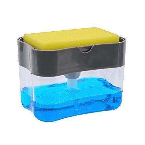 Pywee Dispensador de Bomba de jabón y Soporte de Esponja para dispensador de jabón de Cocina Dispensador de Lavabo sobre encimera,Gris