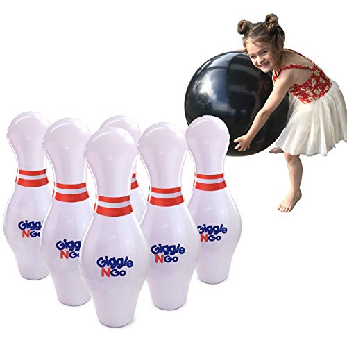GIGGLE N GO Giant Bowling Set, Inflatable Bowling Set for Kids - A Giant Games Classic for Any Age - Play Indoor Games or Outdoor Games for Family. Will Be One of The Hottest Gifts for Christmas 2019