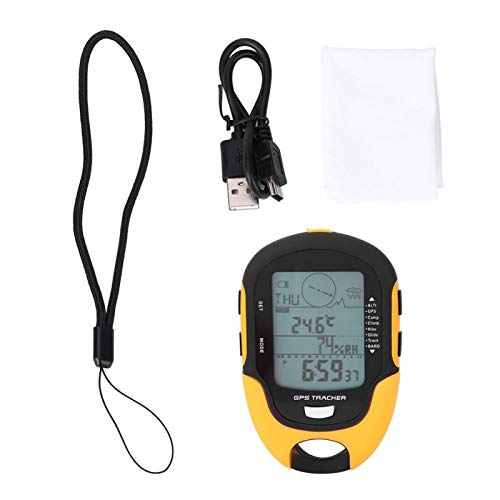 Keenso Barómetro multifunción, Receptor de navegación GPS SUNROAD, altímetro Digital Recargable por USB de Mano para Pesca de Escalada al Aire Libre