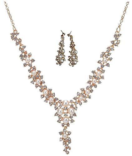 [サラローズ] ラインストーン パール 真珠 ビジュー ゴールド ネックレス ゴージャス デザイン 結婚式 パーティ 華やか ボリューム シンプルなドレスにも V字 レディース アクセサリー (ピアスセット)