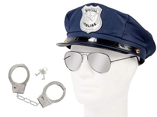 Alsino Polizei Cop Accessoires Fasching Karneval Outfit (kv-30) Polizeimütze mit Handschellen & Pilotenbrille Silber