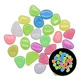 Younoo1 300 piedras luminosas de colores – Piedras luminosas artificiales brillantes en la noche para jardín, exterior, acuario, pasarelas, piscina, camino de césped, patio, multicolor