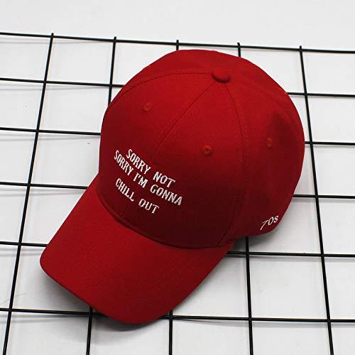 Buchstabe Hip Hop Baseball Cap männlich und weiblich Reisen Paar Kappe Stickerei Stickerei entlang der Kappe rot einstellbar