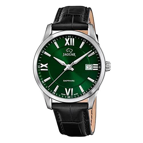 JAGUAR Reloj Modelo J883/3 de la colección ACAMAR, Caja de 40 mm Verde con Correa de Piel Negro para Caballero