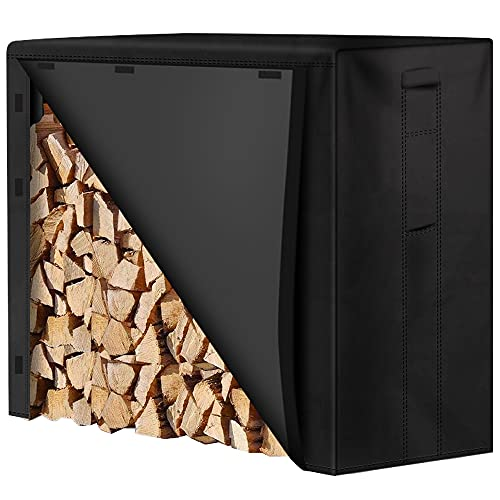 Amagabeli 4ft Firewood Log Rack Cover Weather Resistant Outdoor Heavy Duty Waterproof 600D Oxford Fabric Fireplace Logs Holder Covering Fire Wood Storage Covers with PVC Backing Black