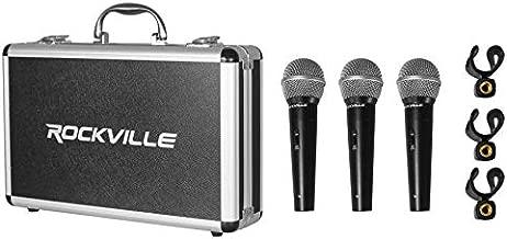 Rockville RMC-3PK 3 Pack Metal Wired Vocal/Instrument/DJ Microphones+Metal Case