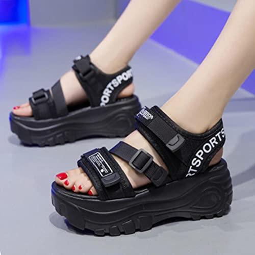 DZQQ Sandalias de Plataforma para Mujer 2020, Hebilla de Cuero de Verano, Letra Inferior Gruesa, Sandalias de Playa para Mujer, Zapatos Gruesos para Mujer, Blanco, Negro, Verde