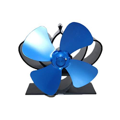 QiKun-Home YL201 Thermal Power Kaminventilator Wärmebetriebener Holzofenventilator für Holz/Holzbrenner/Kamin Umweltfreundliche vierblättrige Ventilatoren Blau