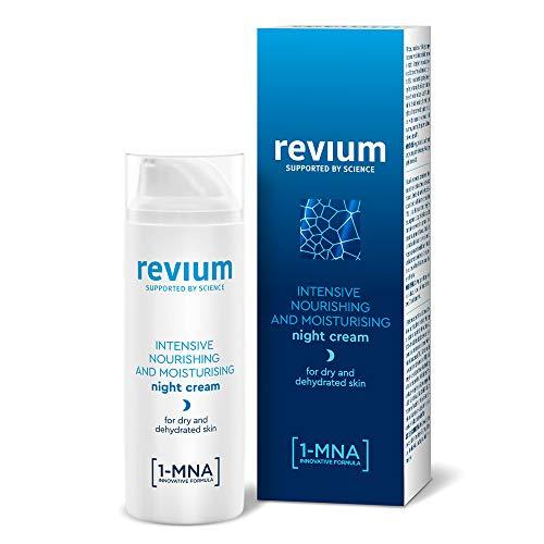 Revium - Crème de nuit nourrissante, à la formule concentrée enrichie en molécule 1-MNA, activateur d'acide hyaluronique et complexe revitalisant de Facteurs Naturels d'Hydratation, 50ml