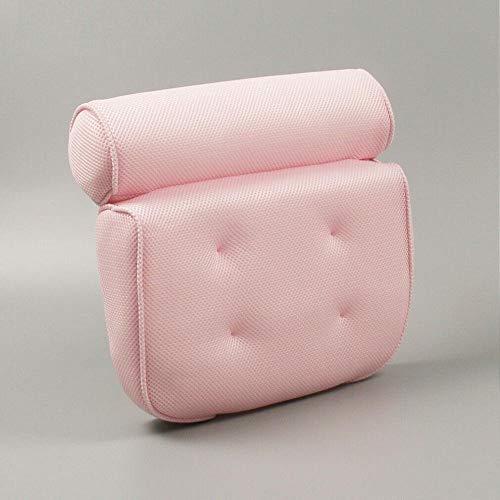 OHHCO Oreiller de baignoire Almohada de Espuma de Apoyo for la Cabeza de bañera SPA Cuello Amortiguador Trasero con 6 ventosas Baño-Rosa Oreiller de Bain (Color : Pink)
