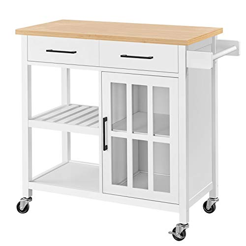 Topeakmart Wood Kitchen Cabinet on Wheels, Rolling Utility Trolley with Drawer, Storage Shelves, Wine Bottle Rack, Towel Handle, Bamboo Top Kitchen Island Cart, White