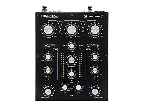 Omnitronic TRM-202 MK3 2-Kanal Rotary-Mixer mit 3-Band-Frequenzisolator | Gainregler, 2-Band-Equalizer und Phono/Line-Umschaltung | Effektive Boost- und Kill-Funktion | Blue Velvet RK27 Potentiometer