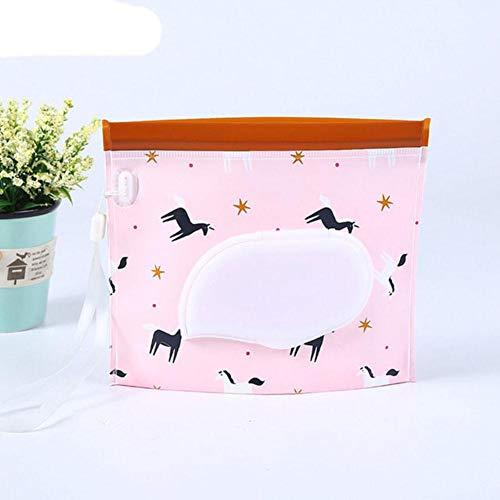 1Pcs Estuche para toallitas de limpieza reutilizables Bolsa para toallitas húmedas 18 * 16CM Contenedor de toallitas Cuerda de luminiscencia Contenedor de papel ecológico portátil-caballo rosa, China