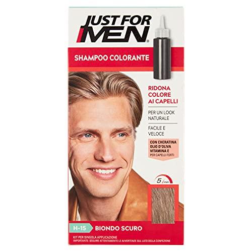 Just for Men Shampoo Colorante, H15 – Biondo Scuro, Shampoo Colorante per Uomo (Nuova Formula)