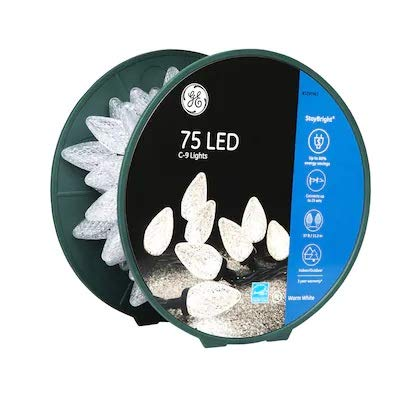 Staybright GE 75-Count LED C9 Clear LED 91146LO Christmas String Lights Energy Star Warm White