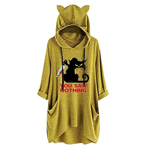 Lenfeshing Camiseta con Estampado de Gato Negro Horror para Mujer con Gorro de Oreja Top Suelto Casual con...