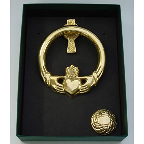 Robert Emmet Medium Brass Claddagh Door Knocker Cross Back
