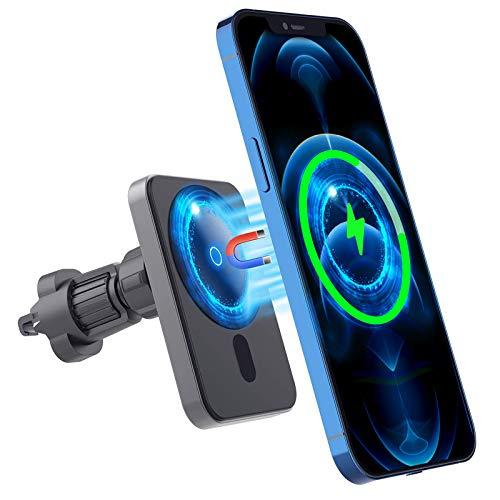 Caricabatteria da Auto Wireless Magnetico Compatibile con Caricabatterie Magsafe iPhone 12 12 Pro 12 Pro Max 12 Mini 15W Potente Supporto Per Telefono da Auto con Magnete