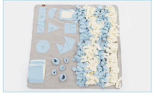 XL Such-Teppich für Hunde | 65 x 65 cm | Suchspiel | Schnüffelspiel (blau)