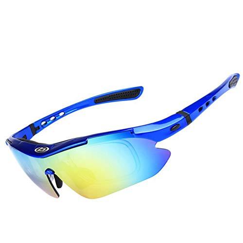XXZ Occhiali da Sole Sportivi,Sincewe Anti-UV 400 Protezione Ciclismo Occhiali da Sole con 5 Lenti Intercambiabili,Uomo E Donna Antivento Aviatore Specchio per MTB,Bici,Moto,002