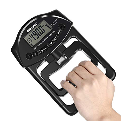 GRIPX Digital Hand Dynamometer Grip Strength Measurement Meter Auto Capturing Electronic Hand Grip Power 198Lbs / 90Kgs Black