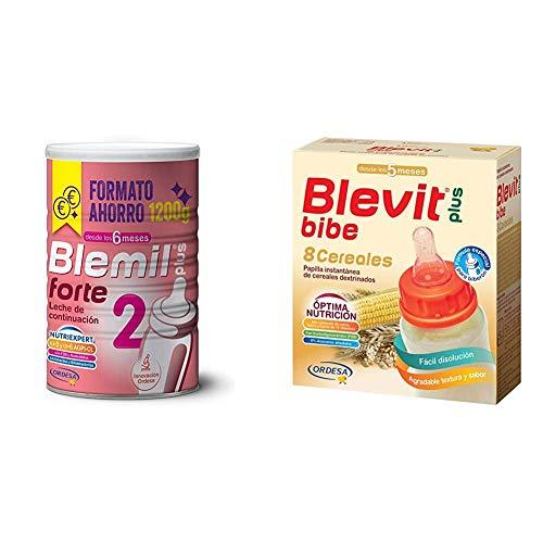 Blemil Plus Forte 2, Leche de continuación para bebé - 1200 g + Blevit Plus Bibe 8, Cereales para bebé - Pack de 2 x 300 g - Total: 600 g