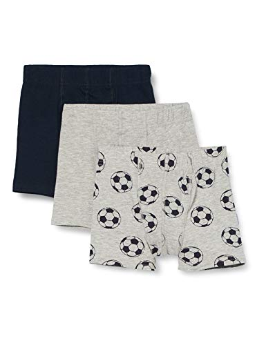 NAME IT Jungen Nmmtights 3p Mel Football Noos Boxershorts, Grey Melange, 104 (3er Pack)