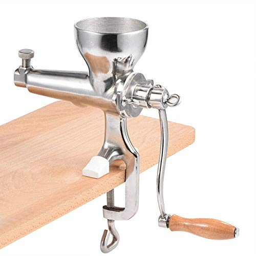 Stainless Steel Manual Wheatgrass Juicer, Hand Crank Fruit Vegetable Orange Juice Press Extractor Table Clip-on Type