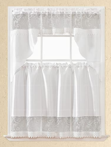 3pc Rod Pocket Embroidered Kitchen Curtains and Valances Set Lace Swag Curtains & Tier Set 36 Inch Length White Lace